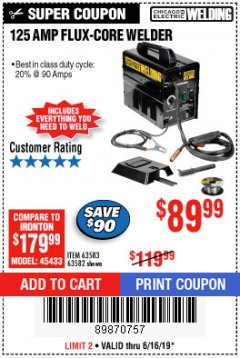 Harbor Freight Coupon 125 AMP FLUX-CORE WELDER Lot No. 63583/63582 Expired: 6/16/19 - $89.99