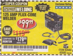 Harbor Freight Coupon 125 AMP FLUX-CORE WELDER Lot No. 63583/63582 Expired: 10/9/19 - $99.99