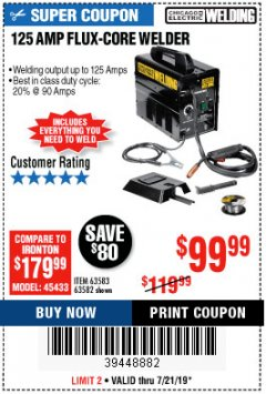 Harbor Freight Coupon 125 AMP FLUX-CORE WELDER Lot No. 63583/63582 Expired: 7/21/19 - $99.99