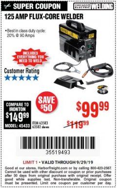 Harbor Freight Coupon 125 AMP FLUX-CORE WELDER Lot No. 63583/63582 Expired: 9/29/19 - $99.99