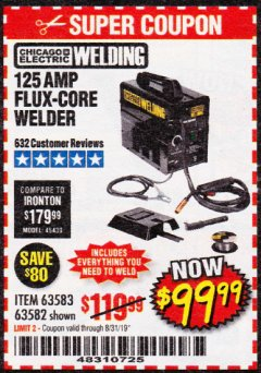 Harbor Freight Coupon 125 AMP FLUX-CORE WELDER Lot No. 63583/63582 Expired: 8/31/19 - $99.99