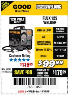 Harbor Freight Coupon 125 AMP FLUX-CORE WELDER Lot No. 63583/63582 Expired: 10/31/19 - $99.99
