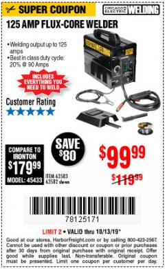 Harbor Freight Coupon 125 AMP FLUX-CORE WELDER Lot No. 63583/63582 Expired: 10/13/19 - $99.99