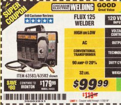 Harbor Freight Coupon 125 AMP FLUX-CORE WELDER Lot No. 63583/63582 Expired: 11/30/19 - $99.99
