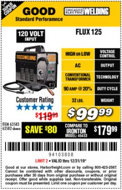 Harbor Freight Coupon 125 AMP FLUX-CORE WELDER Lot No. 63583/63582 Expired: 12/31/19 - $99.99
