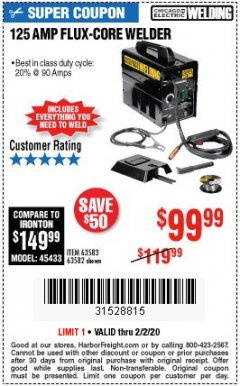 Harbor Freight Coupon 125 AMP FLUX-CORE WELDER Lot No. 63583/63582 Expired: 2/2/20 - $99.99