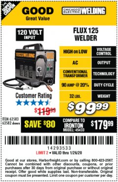 Harbor Freight Coupon 125 AMP FLUX-CORE WELDER Lot No. 63583/63582 Expired: 1/26/20 - $99.99