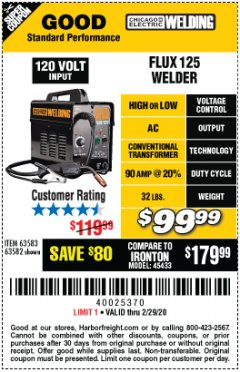 Harbor Freight Coupon 125 AMP FLUX-CORE WELDER Lot No. 63583/63582 Expired: 2/29/20 - $99.99
