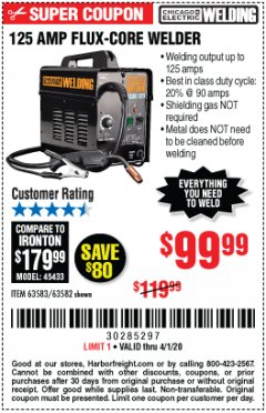 Harbor Freight Coupon 125 AMP FLUX-CORE WELDER Lot No. 63583/63582 Expired: 4/1/20 - $99.99