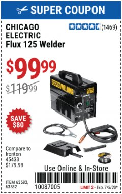 Harbor Freight Coupon 125 AMP FLUX-CORE WELDER Lot No. 63583/63582 Expired: 6/5/20 - $99.99