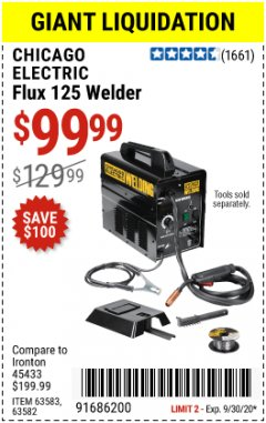 Harbor Freight Coupon 125 AMP FLUX-CORE WELDER Lot No. 63583/63582 Expired: 9/30/20 - $99.99