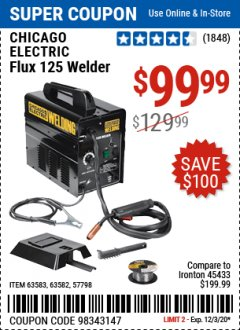 Harbor Freight Coupon 125 AMP FLUX-CORE WELDER Lot No. 63583/63582 Expired: 12/3/20 - $99.99
