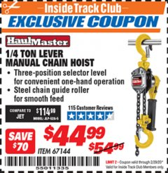 Harbor Freight ITC Coupon 1/4 TON LEVER MANUAL CHAIN HOIST Lot No. 67144 Valid: 2/1/20 - 2/29/20 - $44.99