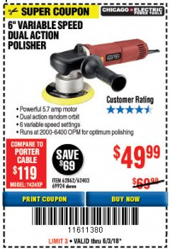 "Harbor Freight Coupon BAUER 6"" VARIABLE SPEED DUAL ACTION POLISHER Lot No. 69924/62862/64528/64529 Expired: 6/3/18 - $49.99"