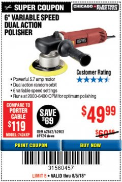 "Harbor Freight Coupon BAUER 6"" VARIABLE SPEED DUAL ACTION POLISHER Lot No. 69924/62862/64528/64529 Expired: 8/5/18 - $49.99"
