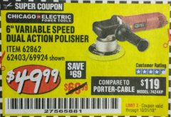 "Harbor Freight Coupon BAUER 6"" VARIABLE SPEED DUAL ACTION POLISHER Lot No. 69924/62862/64528/64529 Expired: 10/31/18 - $49.99"