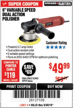"Harbor Freight Coupon BAUER 6"" VARIABLE SPEED DUAL ACTION POLISHER Lot No. 69924/62862/64528/64529 Expired: 9/30/18 - $49.99"