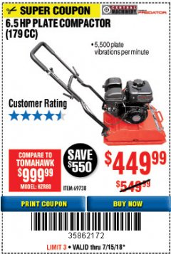 Harbor Freight Coupon 6.5 HP PLATE COMPACTOR (179 CC) Lot No. 66571/69738 Expired: 7/15/18 - $449.99