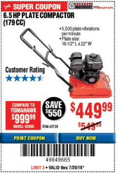 Harbor Freight Coupon 6.5 HP PLATE COMPACTOR (179 CC) Lot No. 66571/69738 Expired: 7/29/18 - $449.99