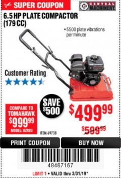 Harbor Freight Coupon 6.5 HP PLATE COMPACTOR (179 CC) Lot No. 66571/69738 Expired: 3/31/19 - $499.99