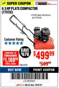Harbor Freight Coupon 6.5 HP PLATE COMPACTOR (179 CC) Lot No. 66571/69738 Expired: 10/6/19 - $499.99
