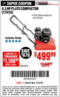 Harbor Freight Coupon 6.5 HP PLATE COMPACTOR (179 CC) Lot No. 66571/69738 Expired: 11/3/19 - $499.99