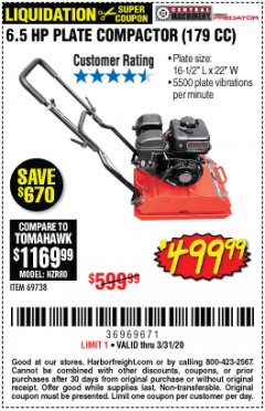 Harbor Freight Coupon 6.5 HP PLATE COMPACTOR (179 CC) Lot No. 66571/69738 Expired: 3/31/20 - $499.99