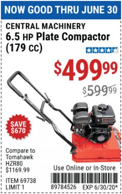 Harbor Freight Coupon 6.5 HP PLATE COMPACTOR (179 CC) Lot No. 66571/69738 Expired: 6/30/20 - $499.99