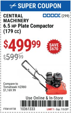 Harbor Freight Coupon 6.5 HP PLATE COMPACTOR (179 CC) Lot No. 66571/69738 Expired: 7/5/20 - $499.99