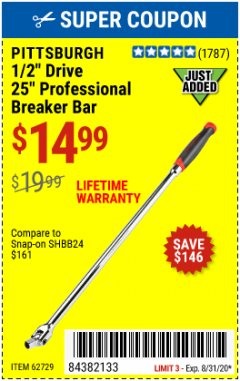 "Harbor Freight Coupon 1/2"" DRIVE 25"" PROFESSIONAL BREAKER BAR Lot No. 62729 Expired: 8/31/20 - $14.99"