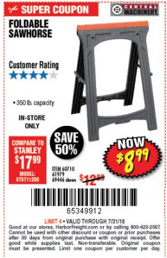 Harbor Freight Coupon FOLDABLE SAWHORSE Lot No. 60710/61979 Expired: 7/31/18 - $8.99