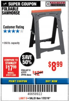 Harbor Freight Coupon FOLDABLE SAWHORSE Lot No. 60710/61979 Expired: 7/22/18 - $8.99