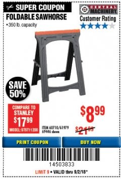 Harbor Freight Coupon FOLDABLE SAWHORSE Lot No. 60710/61979 Expired: 9/2/18 - $8.99