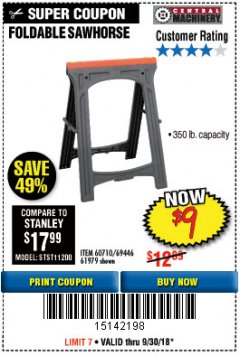 Harbor Freight Coupon FOLDABLE SAWHORSE Lot No. 60710/61979 Expired: 9/30/18 - $9