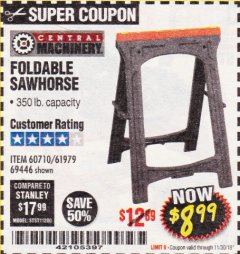 Harbor Freight Coupon FOLDABLE SAWHORSE Lot No. 60710/61979 Expired: 11/30/18 - $8.99