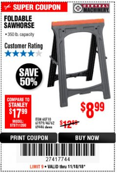 Harbor Freight Coupon FOLDABLE SAWHORSE Lot No. 60710/61979 Expired: 11/18/18 - $8.99