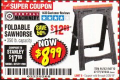 Harbor Freight Coupon FOLDABLE SAWHORSE Lot No. 60710/61979 Expired: 2/28/19 - $8.99