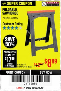 Harbor Freight Coupon FOLDABLE SAWHORSE Lot No. 60710/61979 Expired: 2/18/19 - $8.99
