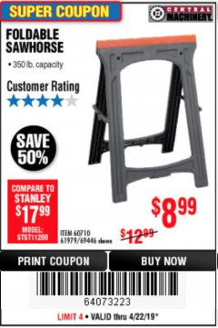 Harbor Freight Coupon FOLDABLE SAWHORSE Lot No. 60710/61979 Expired: 4/22/19 - $8.99