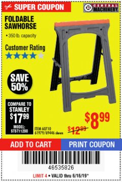 Harbor Freight Coupon FOLDABLE SAWHORSE Lot No. 60710/61979 Expired: 6/16/19 - $8.99