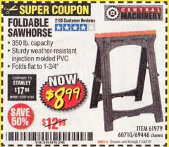 Harbor Freight Coupon FOLDABLE SAWHORSE Lot No. 60710/61979 Expired: 11/30/19 - $8.99