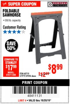 Harbor Freight Coupon FOLDABLE SAWHORSE Lot No. 60710/61979 Expired: 10/20/19 - $8.99