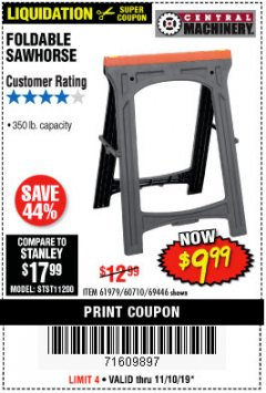 Harbor Freight Coupon FOLDABLE SAWHORSE Lot No. 60710/61979 Expired: 11/10/19 - $9.99