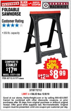 Harbor Freight Coupon FOLDABLE SAWHORSE Lot No. 60710/61979 Expired: 12/8/19 - $8.99
