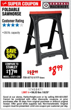 Harbor Freight Coupon FOLDABLE SAWHORSE Lot No. 60710/61979 Expired: 1/6/20 - $8.99