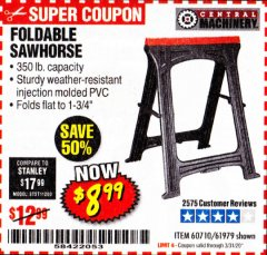 Harbor Freight Coupon FOLDABLE SAWHORSE Lot No. 60710/61979 Expired: 3/31/20 - $8.99