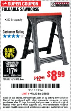 Harbor Freight Coupon FOLDABLE SAWHORSE Lot No. 60710/61979 Expired: 3/29/20 - $8.99