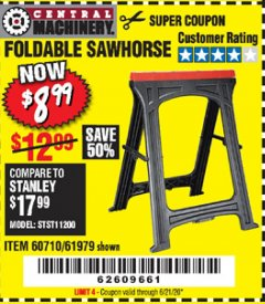 Harbor Freight Coupon FOLDABLE SAWHORSE Lot No. 60710/61979 Expired: 6/21/20 - $8.99