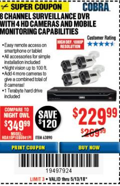 Harbor Freight Coupon 8 CHANNEL SURVEILLANCE DVR WITH 4 HD CAMERAS AND MOBILE MONITORING CAPABILITIES Lot No. 63890 Expired: 5/13/18 - $229.99
