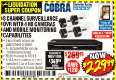 Harbor Freight Coupon 8 CHANNEL SURVEILLANCE DVR WITH 4 HD CAMERAS AND MOBILE MONITORING CAPABILITIES Lot No. 63890 Expired: 6/30/18 - $229.99